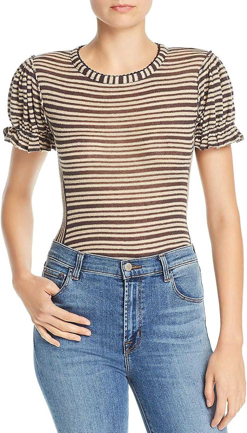 Free People Womens Take One for The Team Striped Short T-Shirt