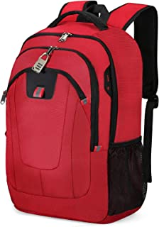 Mochila Antirrobo Impermeable, Mochila Portátil Hombre 17.3 Pulgadas USB Impermeable del Escolar Trabajo Diario Viaje Negocio Multifuncional Daypacks Rojo
