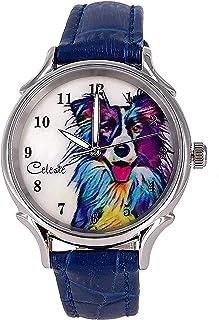 Sponsored Ad - Celeste Border Collie Dog Pet Swiss Quartz Watch Multicolor 35mm Mother of Pearl Rainbow Art Dial Blue Calf...