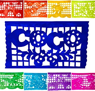 TexMex FunStuff  Coco Inspired Party Supplies Paper Banner Decorations, Mexican Fiesta Papel Picado Decor for All Celebrations 2 Pack, 30 Feet
