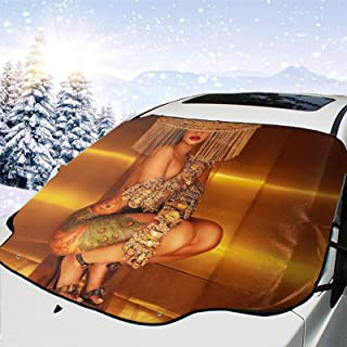 Hoonmis Cardi B-Money Music Car Front Wind and Snow Cover, Wind and Snow Board, Antifreeze Cover, Heat Insulation, Frost a...