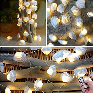 HDNICE Beach Seashell Decorative String Lights 13.85 Ft 40 Warm White LED Waterproof Battery Operated Ocean Lights for Bed...