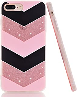 BASRKE GlitteCase for iPhone 7 Plus Case, Luxury Sparkle Bling Bling Clear Soft TPU Bumper & Hard Plastic Back Case Cover for iPhone 7 Plus iPhone 8 Plus - Pink