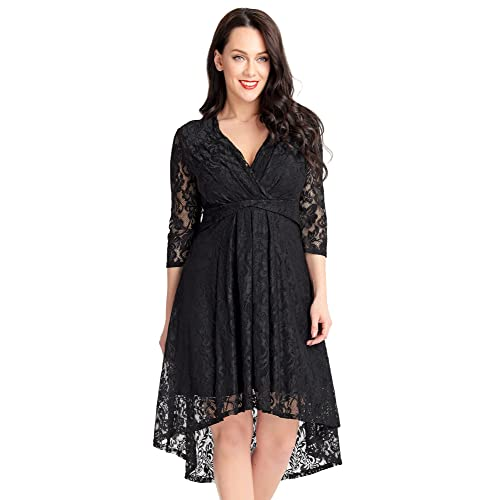 3b0a3595fbfb ACKKIA Women s V Neck High Waist Floral Lace Overlay High Low A Line  Cocktail Dress