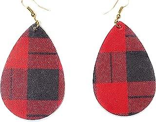Plaid Earrings for Women Faux Leather Statement Earrings Buffalo Plaid Lightweight Earrings