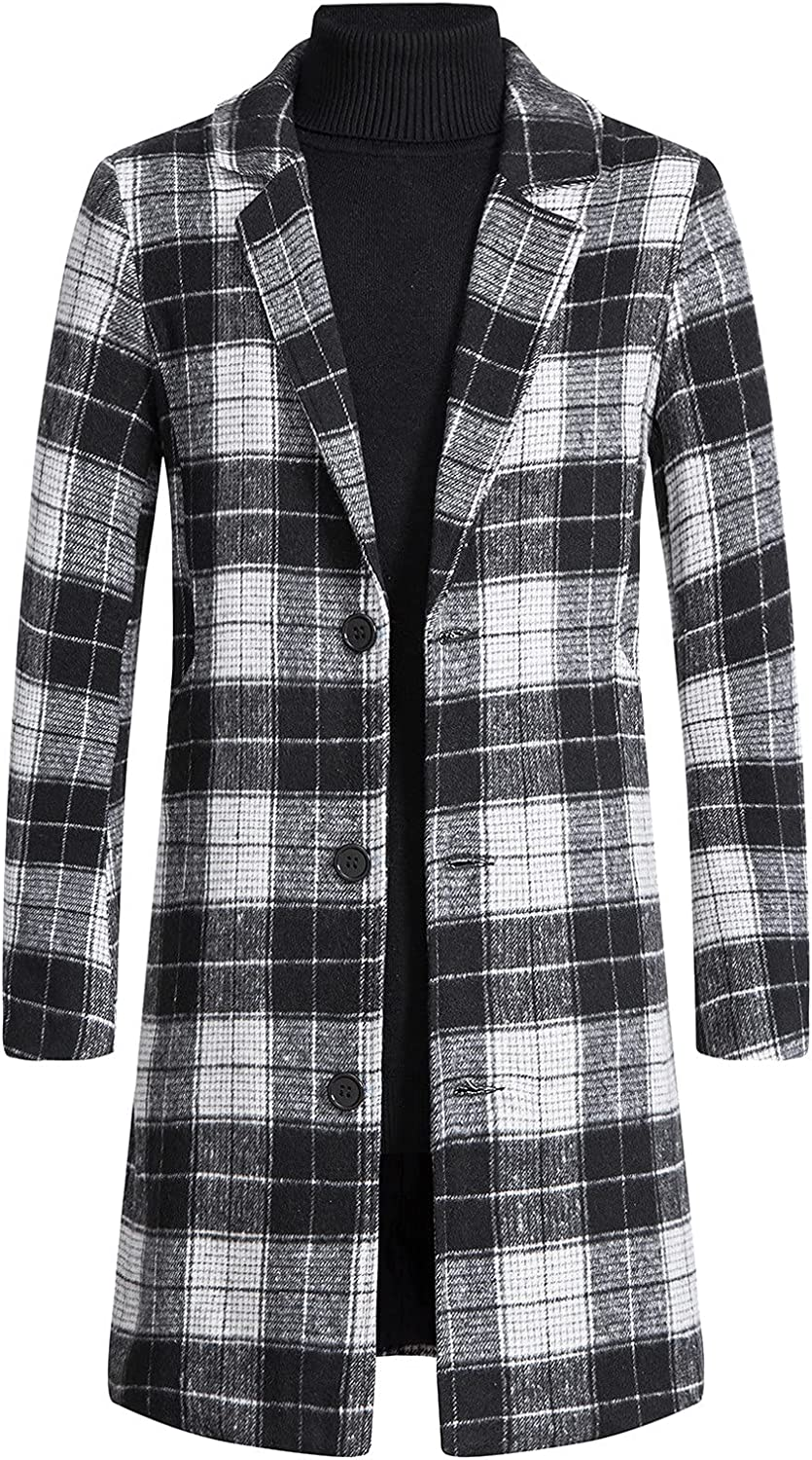 Men's Trench Coat Jacket Color Stitching Wool Slim Fit Top Coat Single Breasted Button Lapel Long Business Overcoat