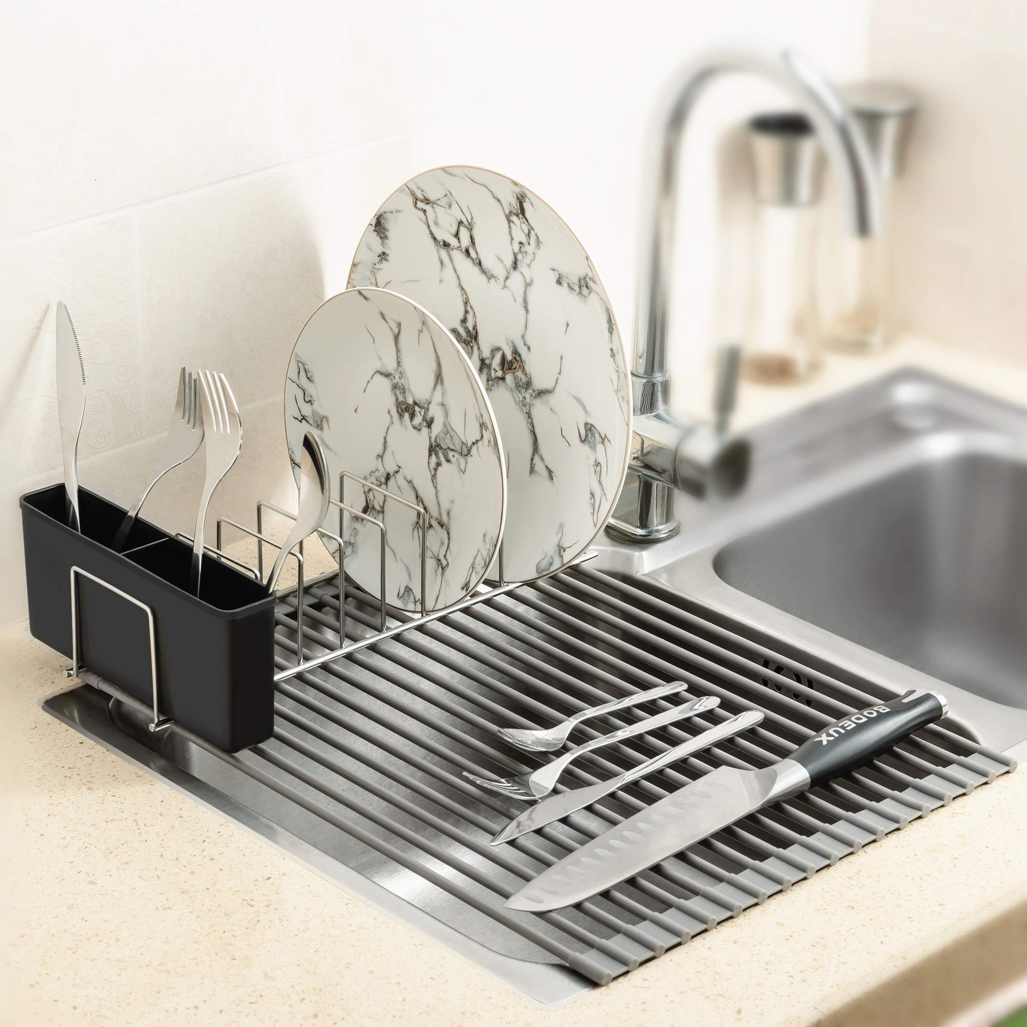 iPEGTOP Over The Sink Roll-Up Dish Drying Rack Multipurpose Dish Drainer  Mat with Plates Holder, Fruits and Vegetable Rinser - Durable Silicone  Covered Stainless Steel L w Black Box Gray: Dish Drainers: