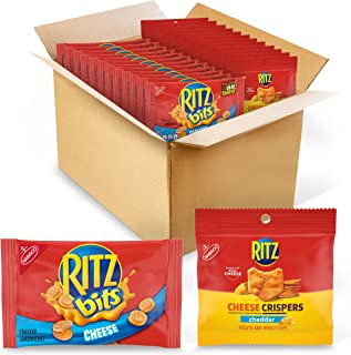 Ritz Bits Crackers & Crispers Cheddar Chips Variety Pack, Snack Packs, Cheese, 48 Count