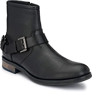 Delize Black Leather Chelsea Boots for Men's