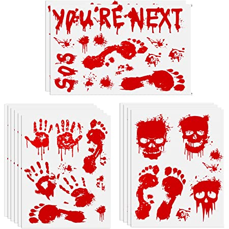 Lippbest Fake Blood Footprint Handprint Horror Vampire Zombie Party Decor Smooth Window Wall Floor Stickers Halloween Decorations Bloody Stickers 12 Sheets