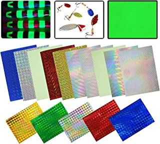 Holographic Adhesive Film Flash Fishing Lure Prism Tape Scale Skin Laser Lure Metal Hard Bait Stickers Reflective Film DIY Art Craft Fly Tying Materials Tool Multiple Colors 3.9