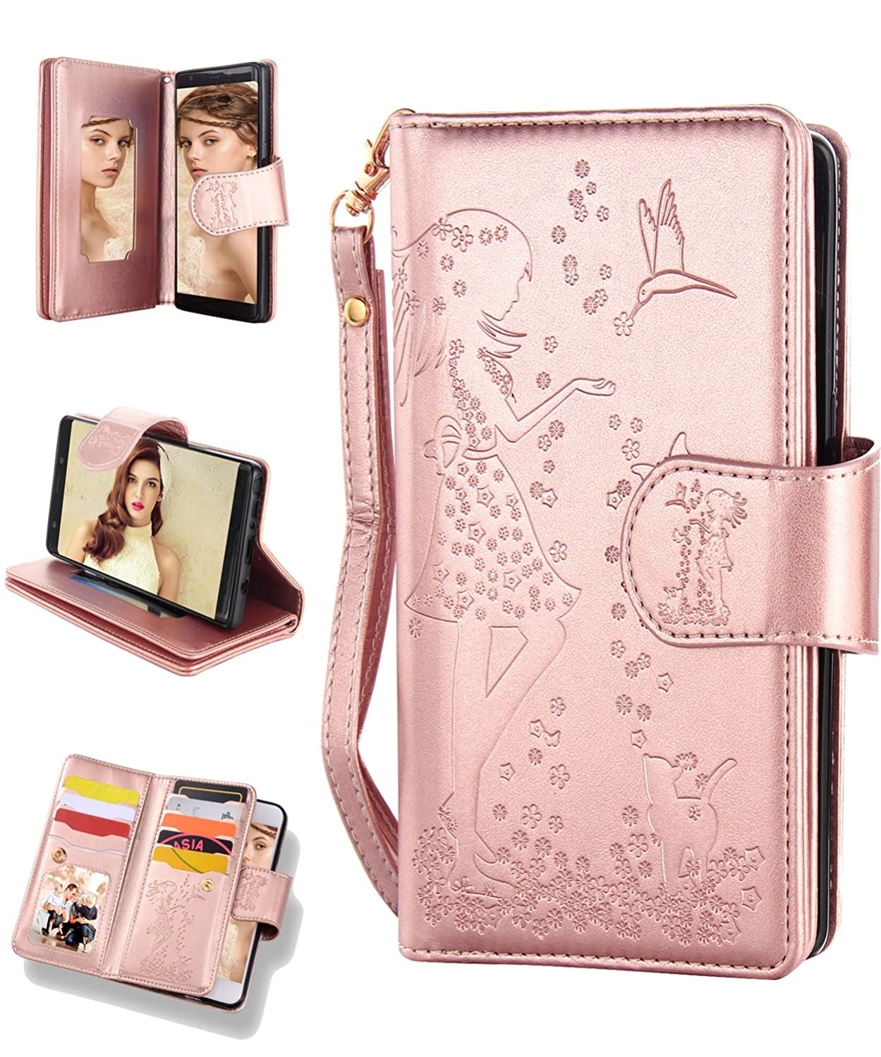 Samsung S9 Case,Galaxy S9 Wallet Case,FLYEE 9 Card Slot PU Leather Magnetic Protective Cover with Mirror and Wrist Strap for Samsung Galaxy S9 5.8 inch Rose Gold