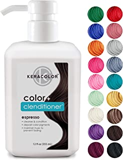 Keracolor Clenditioner ESPRESSO Hair Dye - Depositing Color Conditioner Colorwash, Semi Permanent, Vegan and Cruelty-Free, 12 fl. Oz.