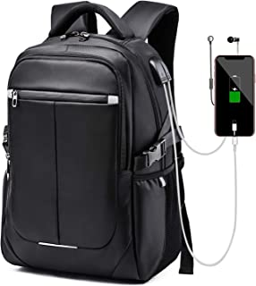 misognare Business Laptop Backpack Water Resistant School Rucksack with USB Charging Port for Men Fits 15.6 Inch Laptop and Notebook(Black)