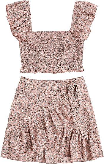 blush coloured dress set top skirt