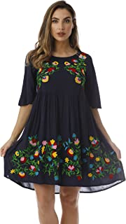 Rayon Crepe Short Dress with Multicolored Embroidery