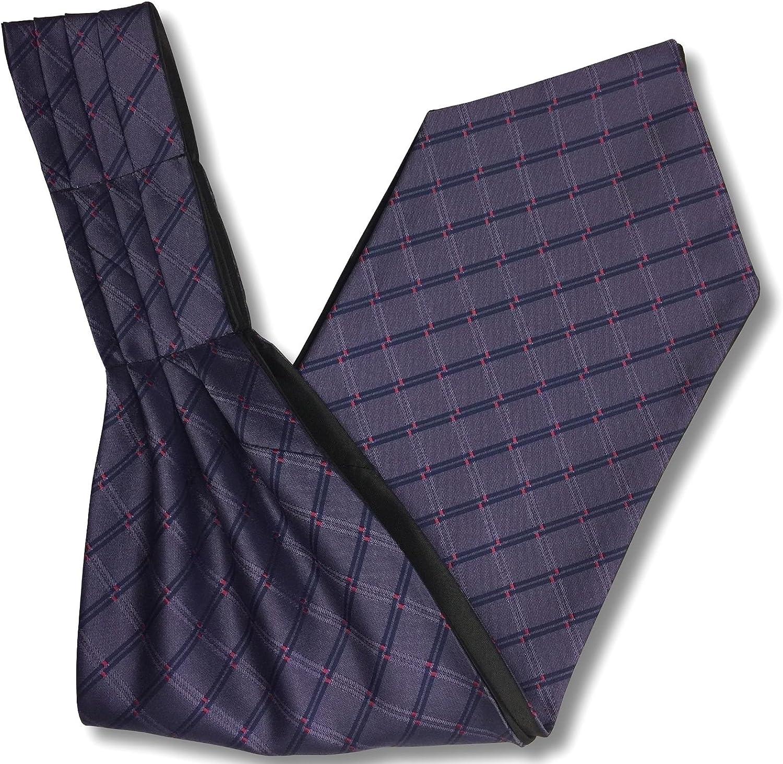 Mens 'Under Shirt' Ascot Cravat - Purple & Navy Check