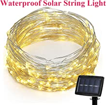 SuTon 72ft 200 LEDs 8 Modes Waterproof Solar String Light with Flexible Silver Wire, High Efficiency Durable Outdoor and Indoor Fairy String Lights for Garden, Patio, Wedding and Christmas (Warm White)