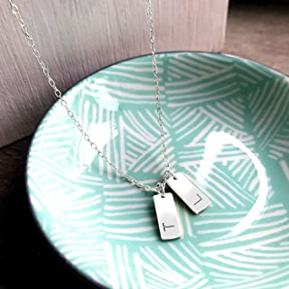 Personalised Sterling Silver Double Tags Necklace, initials necklace, tag necklace, layering necklace, personalised gift, ...