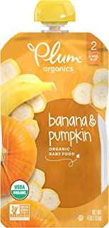 Plum Organics Stage 2 Organic Baby Food, Banana & Pumpkin, 4 Ounce Pouch (Pack of 12)