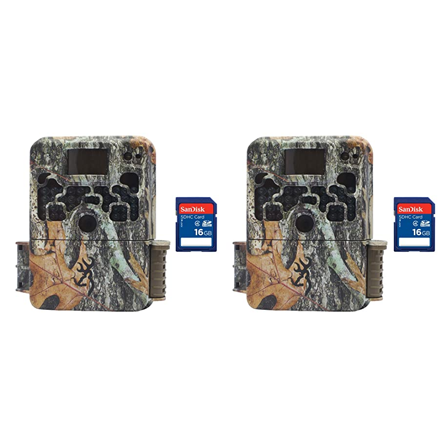 Browning Trail Cameras Strike Force 850 HD 16MP Game Camera, 2 Pack + SD Cards