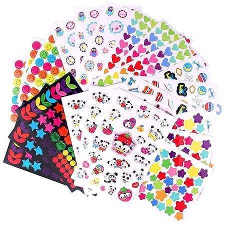 MOKIU 21 Feuilles 1600 Gommettes Autocollant Enfants Gommettes en Coeur Étoiles Pois Colorés Stickers pour Scrapbooking, Loisirs Creatifs, Materiel Activites Manuelles, Album DIY