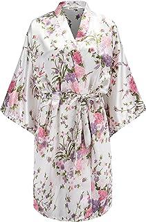 d02884b658aa EPLAZA Women Floral Satin Robe Bridal Dressing Gown Wedding Bride  Bridesmaid Kimono Sleepwear