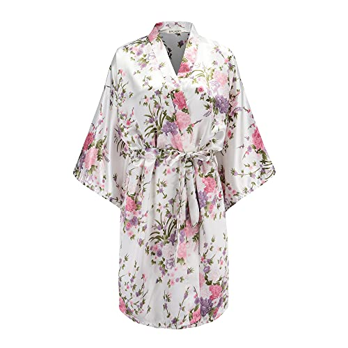 90c39e8df7 EPLAZA Women Floral Satin Robe Bridal Dressing Gown Wedding Bride  Bridesmaid Kimono Sleepwear