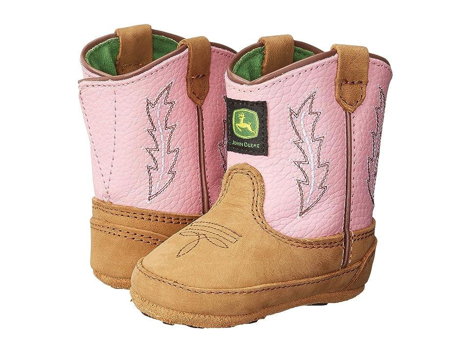 John Deere Johnny Poppertm Crib (Infant/Toddler) (Tan/Pink) Cowboy Boots