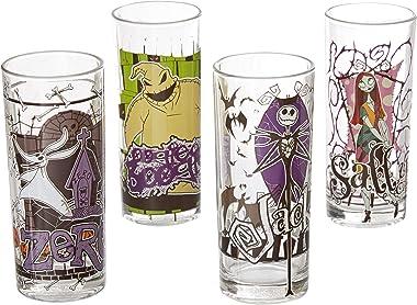 Disney Silver Buffalo - Vasos de vidrio, diseño Nightmare Before Christmas, 3D, Multicolor, 295.73 ml (10 oz), 1