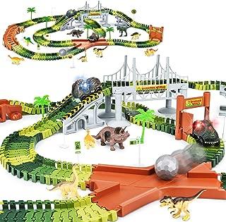 KKONES Dinosaur Toys-273Pcs Create A Dinosaur World Road Race-Flexible Track Playset & 2 Pcs Cool Dinosaur Car for 3 4 5 6 Year & Up Old Boy Girls Best Gift
