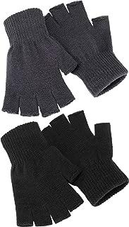 Satinior 2 Pair Unisex Half Finger Gloves Winter Stretchy Knit Fingerless Gloves in Common Size