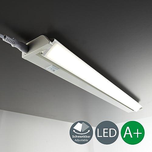 B.K. Licht réglette LED orientable, luminaire pour meubles placard cuisine, design moderne éclairage intérieur, lumière blanc neutre 1000lm, 230V, IP20, 8,5W, 550 x 61 x 3 mm