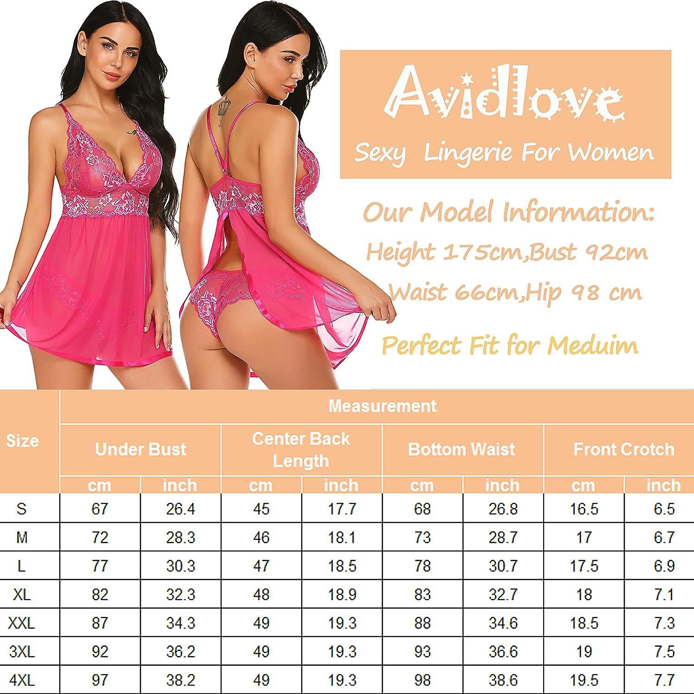 Avidlove Women's Lingerie Lace Babydoll V Neck Chemise Halter Teddy Strap Sleepwear