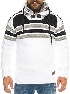 Crazy Age męski sweter z dzianiny, grubo dziergany, slim fiting, stylowy stójka, długa rękaw z podwójnym kołnierzem