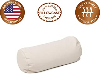 """ComfyComfy Round Buckwheat Hull Pillow for Side Sleeper Neck Support, Small Size (14"""" x 6""""), Breathable for Cool Sleep, USA Grown Buckwheat and Durable Cotton Twill, with Custom Pillowcase"""