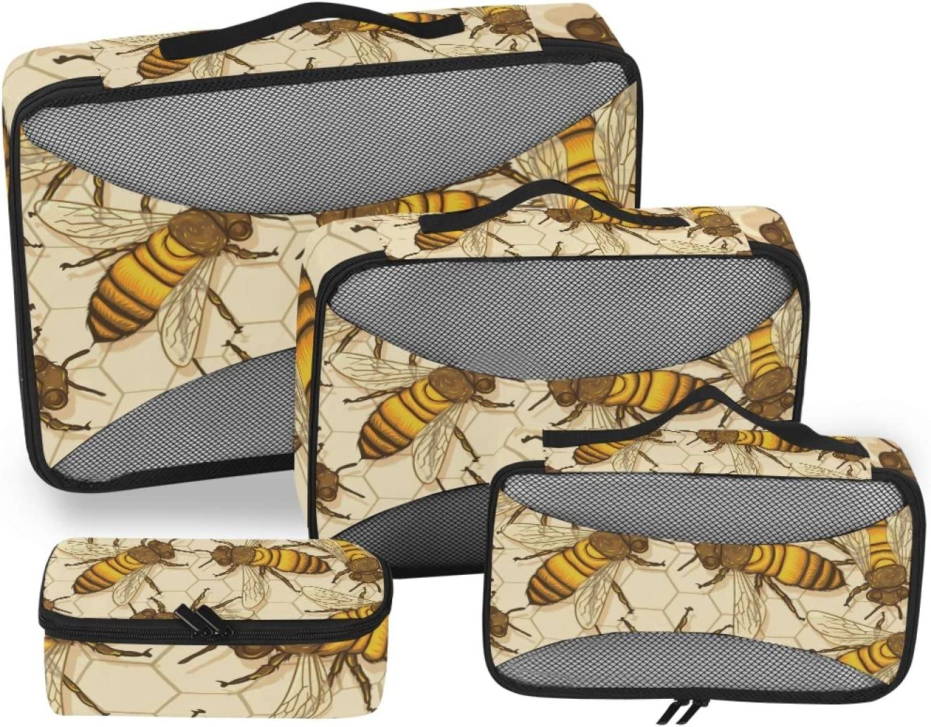 Honey Bees Packing Cubes 4-Pcs Max 88% OFF Stor Organizer Popular products Travel Accessories