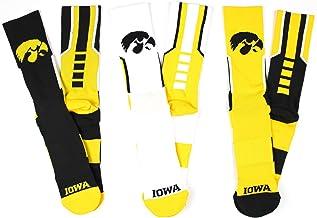 NCAA Iowa Hawkeyes 3 Piece Sport Performance Socks Bundle, Multicolor, One Size Fits Most