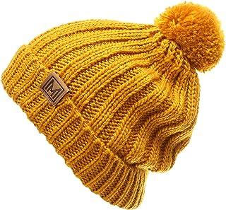 69e22083dbf77 MIRMARU Women s Oversized Chunky Soft Warm Rib Knit Pom Pom Beanie Hat with  Sherpa Lined