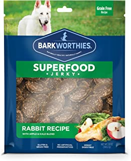 Barkworthies All Natural Superfood Dog Treats - Rabbit with Apple & Kale Jerky Treats