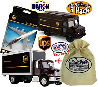 Matty's Toy Stop Daron UPS (United Parcel Service) Box Truck, Package Truck & Plane Deluxe Gift Set Bundle with Exclusive Storage Bag - 3 Pack