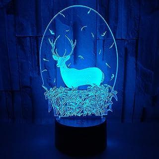 Créatif 3D Cerf Nuit Lampe Art Déco Lampe Lumières LED Décoration Lampes Touch Control 7 Couleurs Change Veilleuse USB Pow...