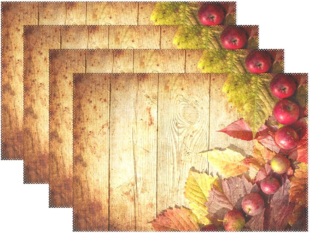 Top Carpenter Autumn Fallen Leaves And Apple Vintage Wood Print Place Mats Washable Heat Resistant Polyester Table Mats 12 X 18 Set Of 6