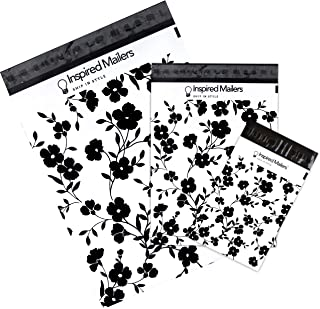 Inspired Mailers - Poly Mailers Variety Pack - Black Floral - 30 Pack (10 Each: 6x9, 10x13, 14.5x19 Sizes) - 3.15mil Unpadded Mailing Envelopes