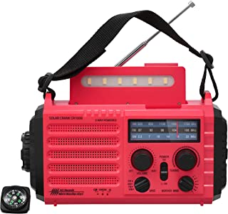 Portable Wind Up NOAA Weather Alert Radio|Hand Crank Solar Self Powered AM FM SW Radio|2000mAh Rechargeable Battery for Phone Charger|Compass|Alarm Sound|Flashlight|Reading Lamp for Emergency Survival