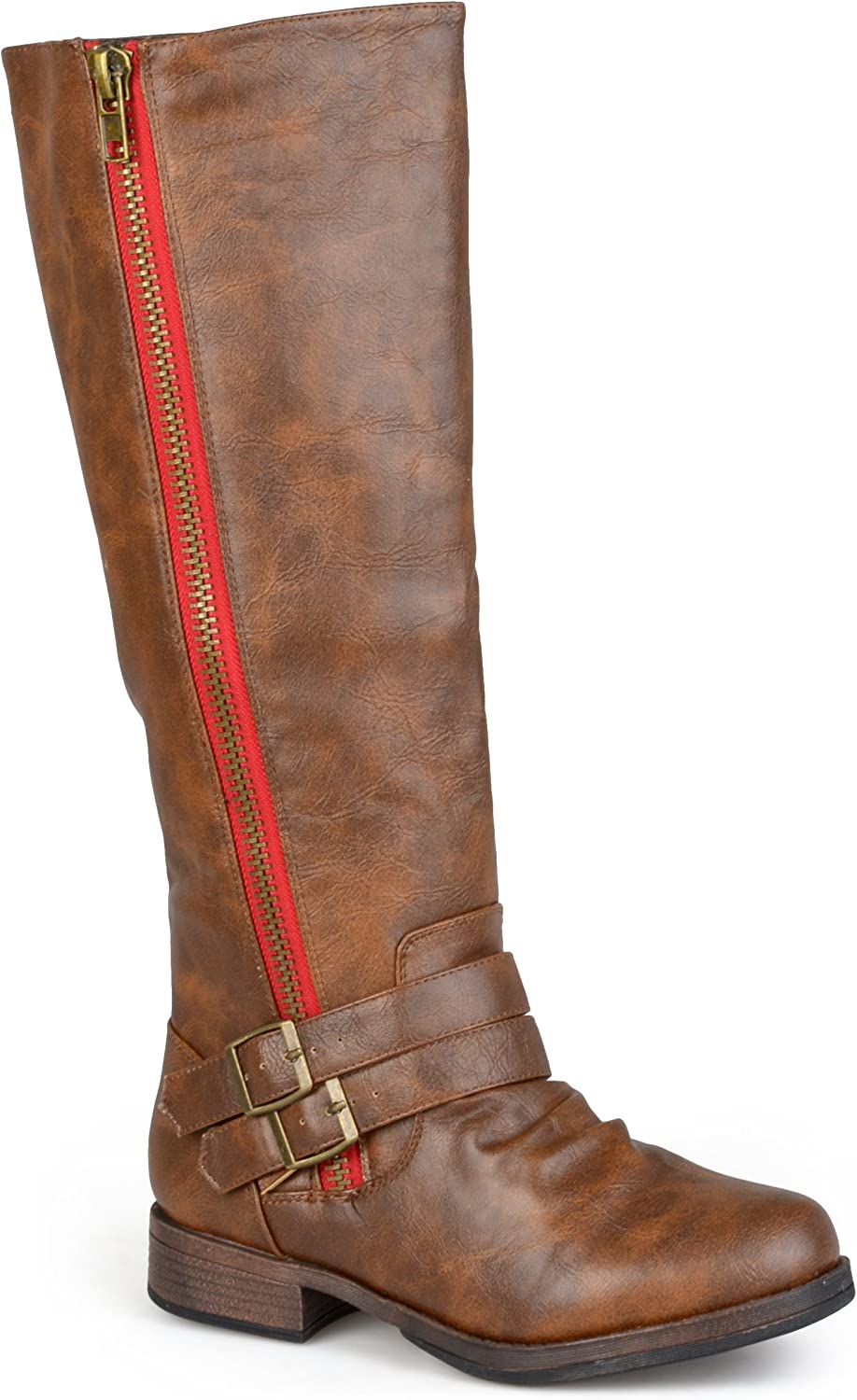Journee Collection Womens Regular Sized and Wide-Calf Side-Zipper Buckle Knee-High Riding Boot