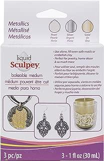 Polyform ALSMET1 Sculpey Liquid Polymer Clay – Basics 3/Pkg Pearl Silver Gold, Multicolor