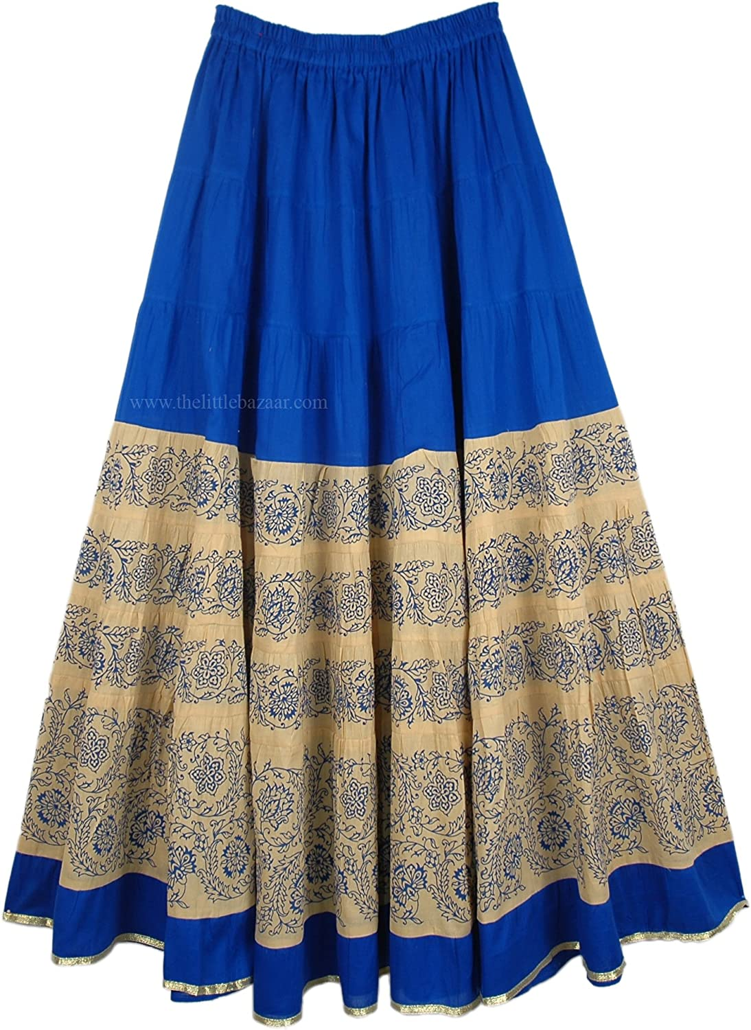 TLB Long Cotton Maxi Skirt in bluee and Khaki  L 38.5 ; W 26 34