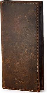 BRASS TACKS LEATHERCRAFT Portafoglio lungo da uomo sottile chiusura a libro Porta carte piccola in vera pelle stile vintag...