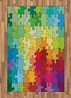 Ambesonne Abstract Area Rug, Colorful Puzzle Pieces Fractal Children Hobby Activity Leisure Toys Cartoon Image, Flat Woven Accent Rug for Living Room Bedroom Dining Room, 4' X 5.7', Multicolor